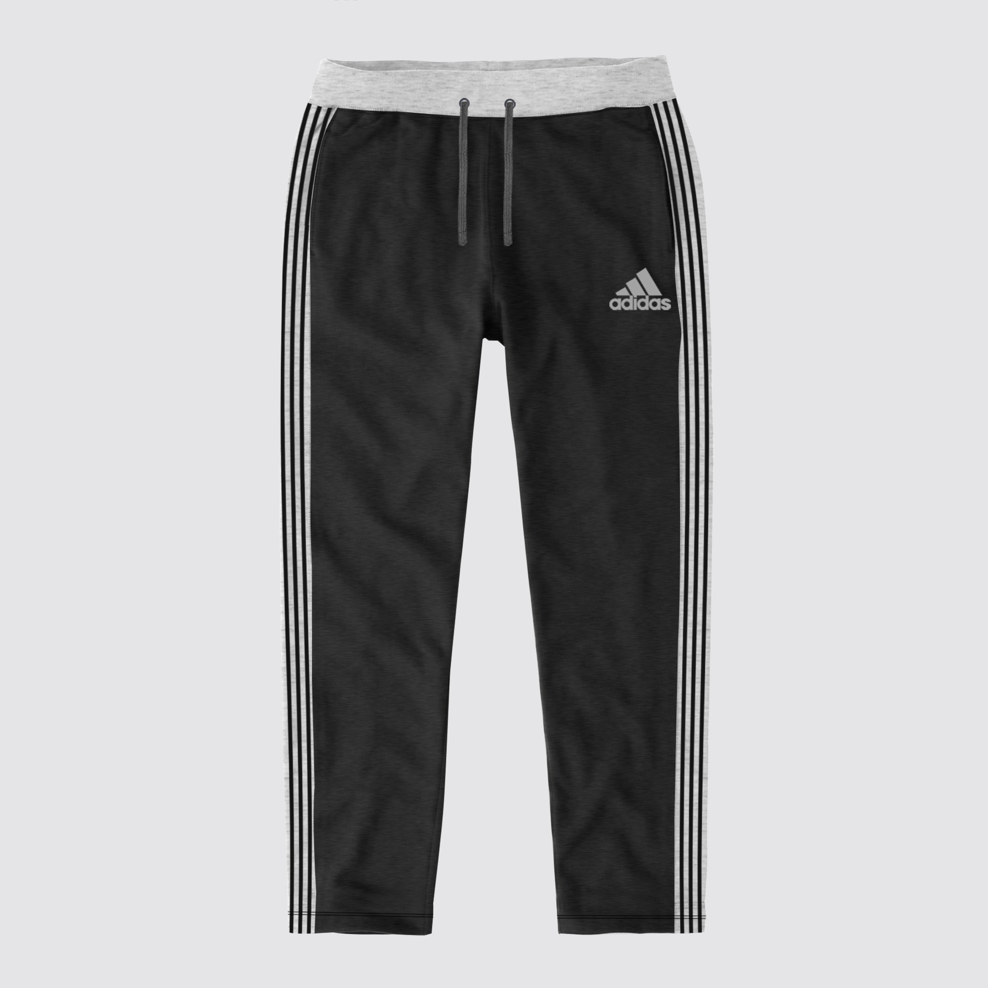 Adidas Single Jersey Regular Fit Trouser For Men-Charcoal Melange with Grey & Black Stripe-BE8656