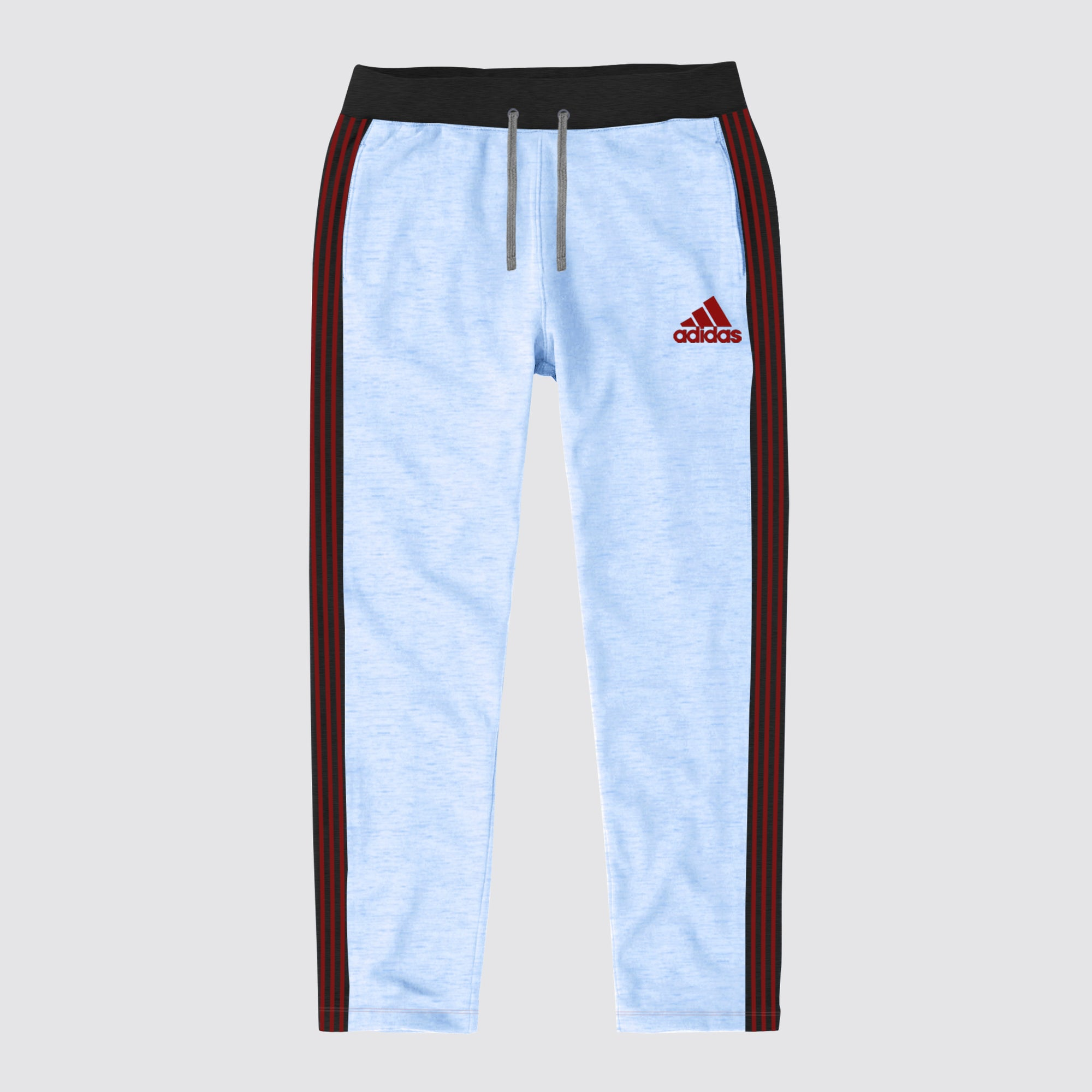 Adidas Single Jersey Regular Fit Trouser For Men-Sky Melange with Charcoal & Red Stripe-BE8659
