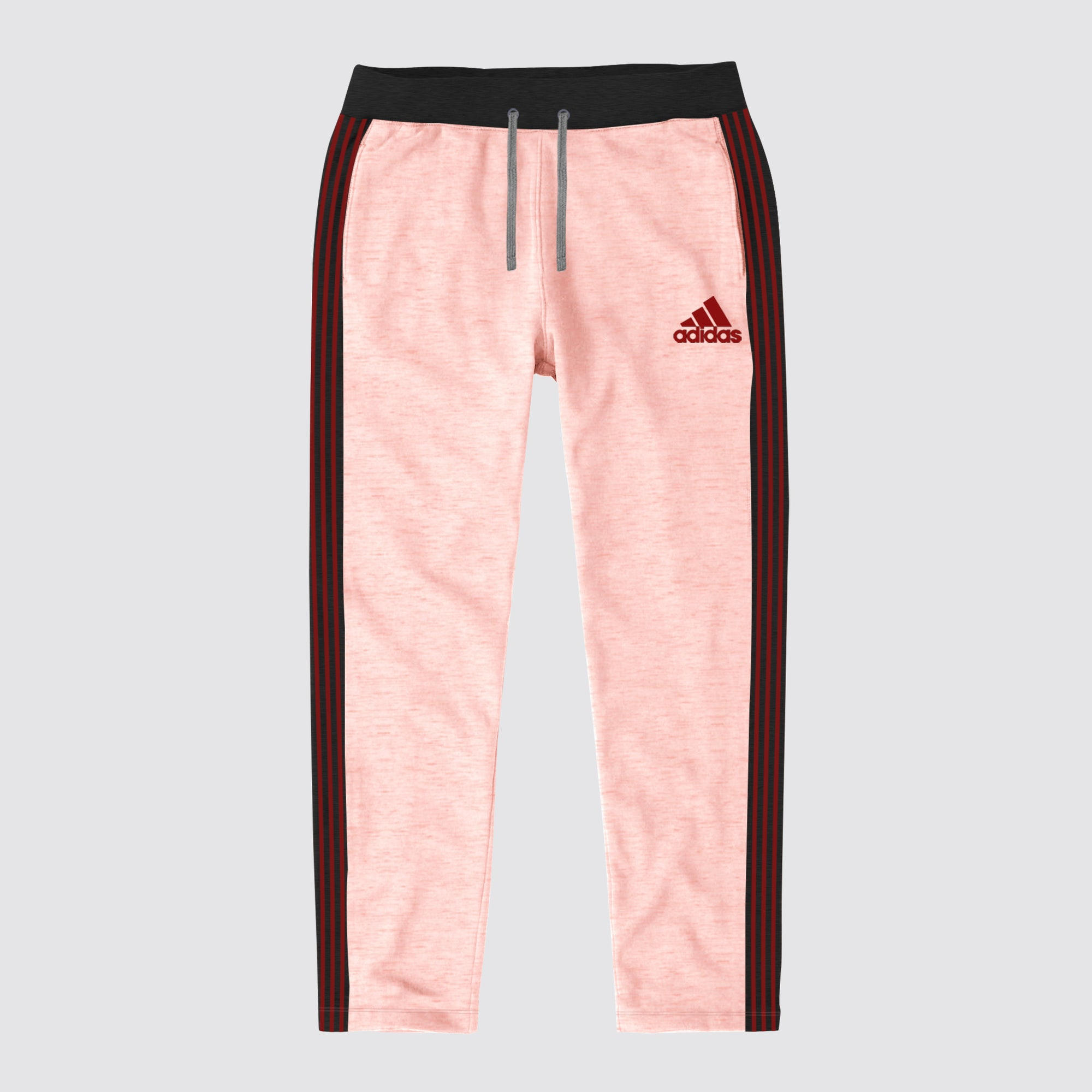 Adidas Single Jersey Regular Fit Trouser For Men-Light Pink Melange with Charcoal & Red Stripe-BE8658