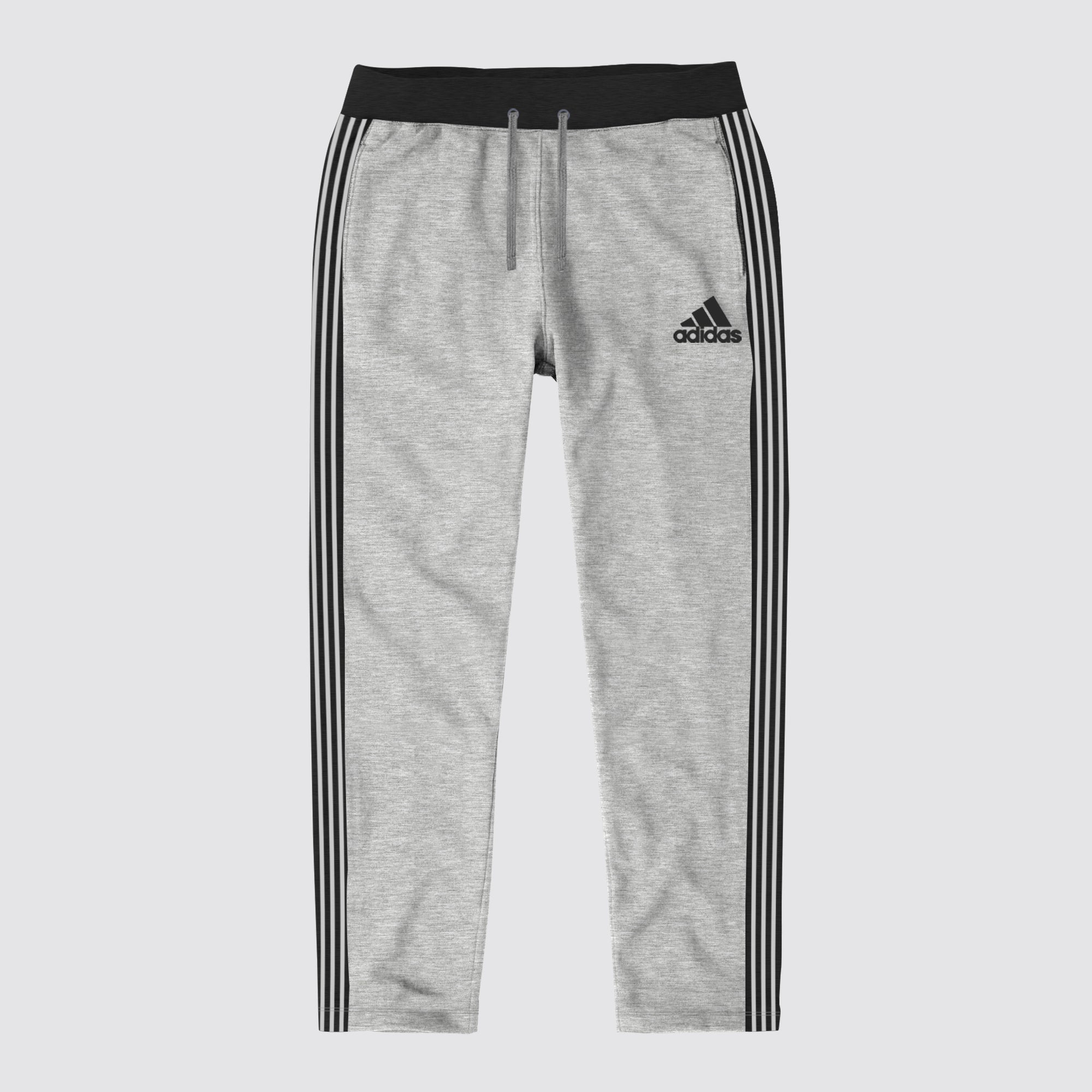 Adidas Single Jersey Regular Fit Trouser For Men-Grey Melange with Charcoal & Grey Stripe-BE8657