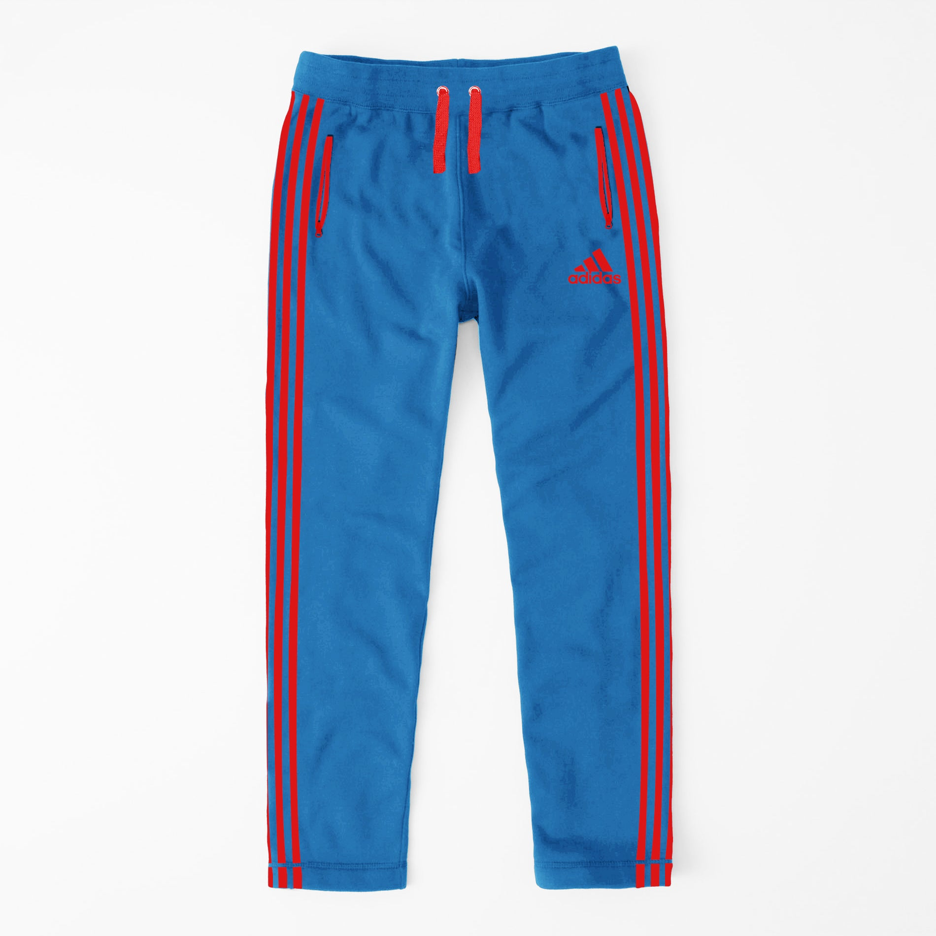 Adidas Single Jersey Regular Fit Trouser For Men-Blue With Red Stripes-NA9363