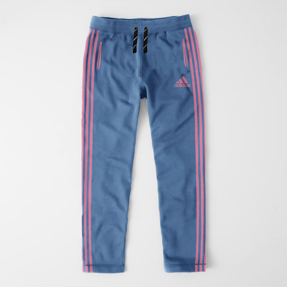 Adidas Single Jersey Regular Fit Trouser For Men-Light Blue With Pink Stripes-NA8727