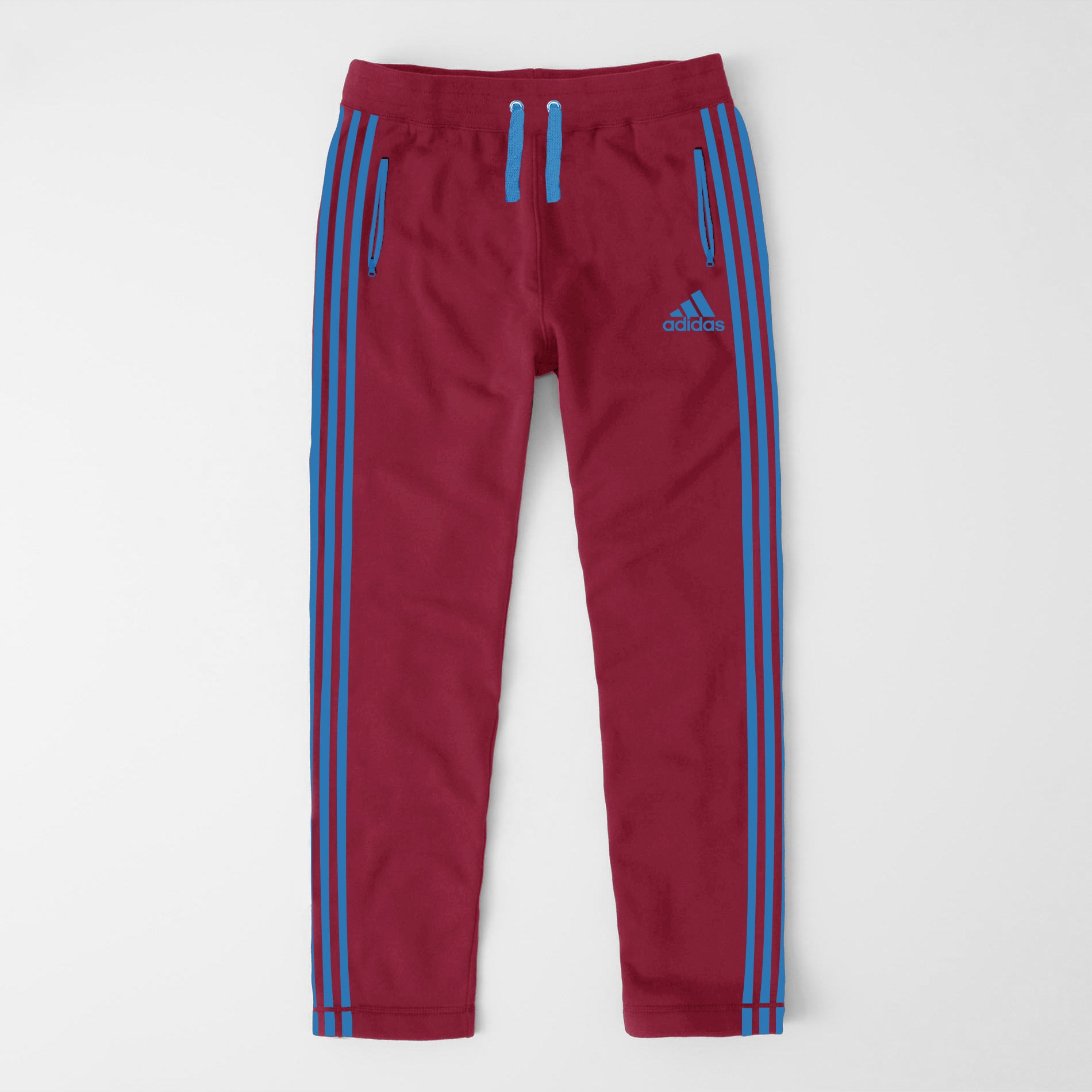 Adidas Single Jersey Regular Fit Trouser For Men-Carrot With Blue Stripes-NA9364