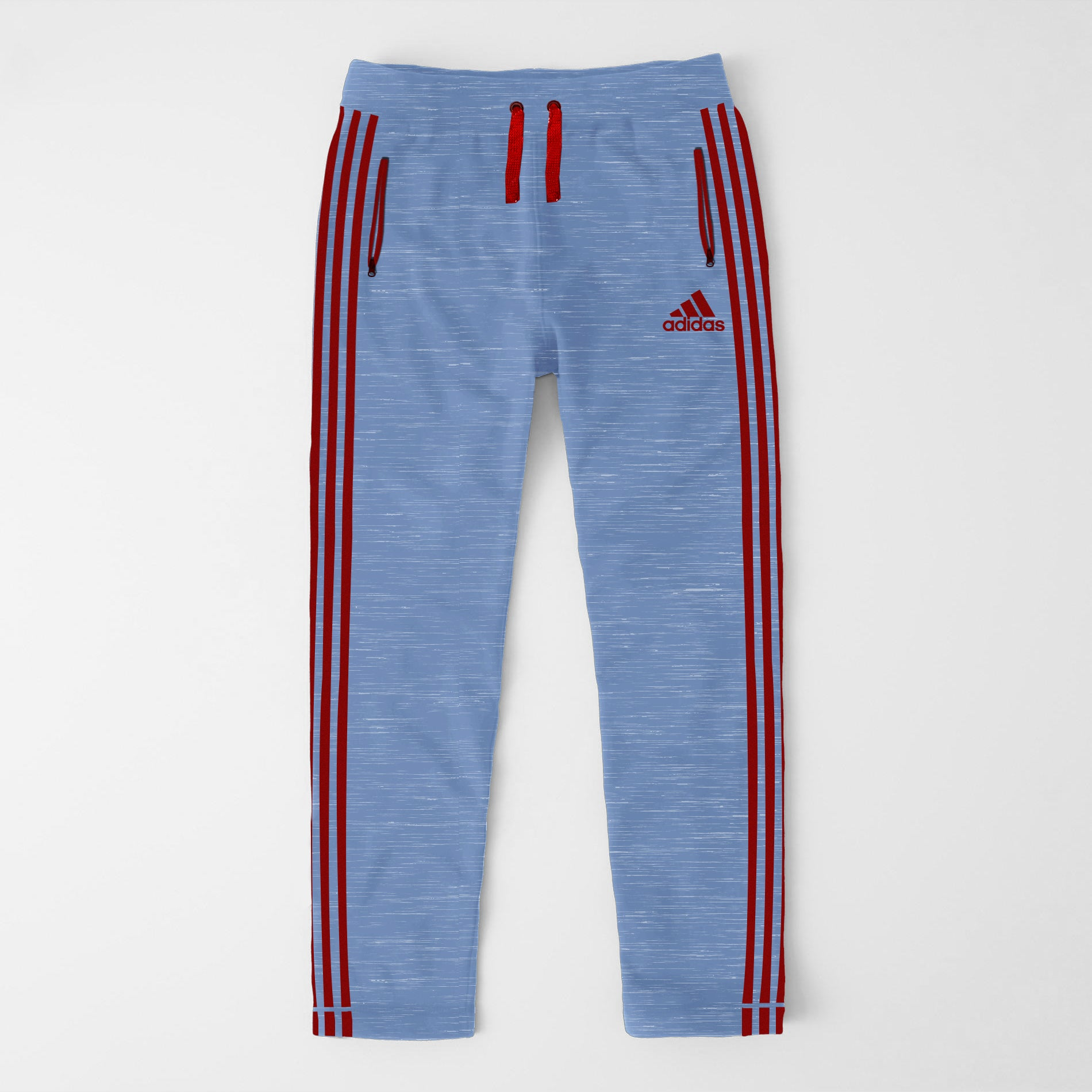 Adidas Single Jersey Regular Fit Trouser For Men-Light Bord Blue & Melange With Red Stripes-SP363