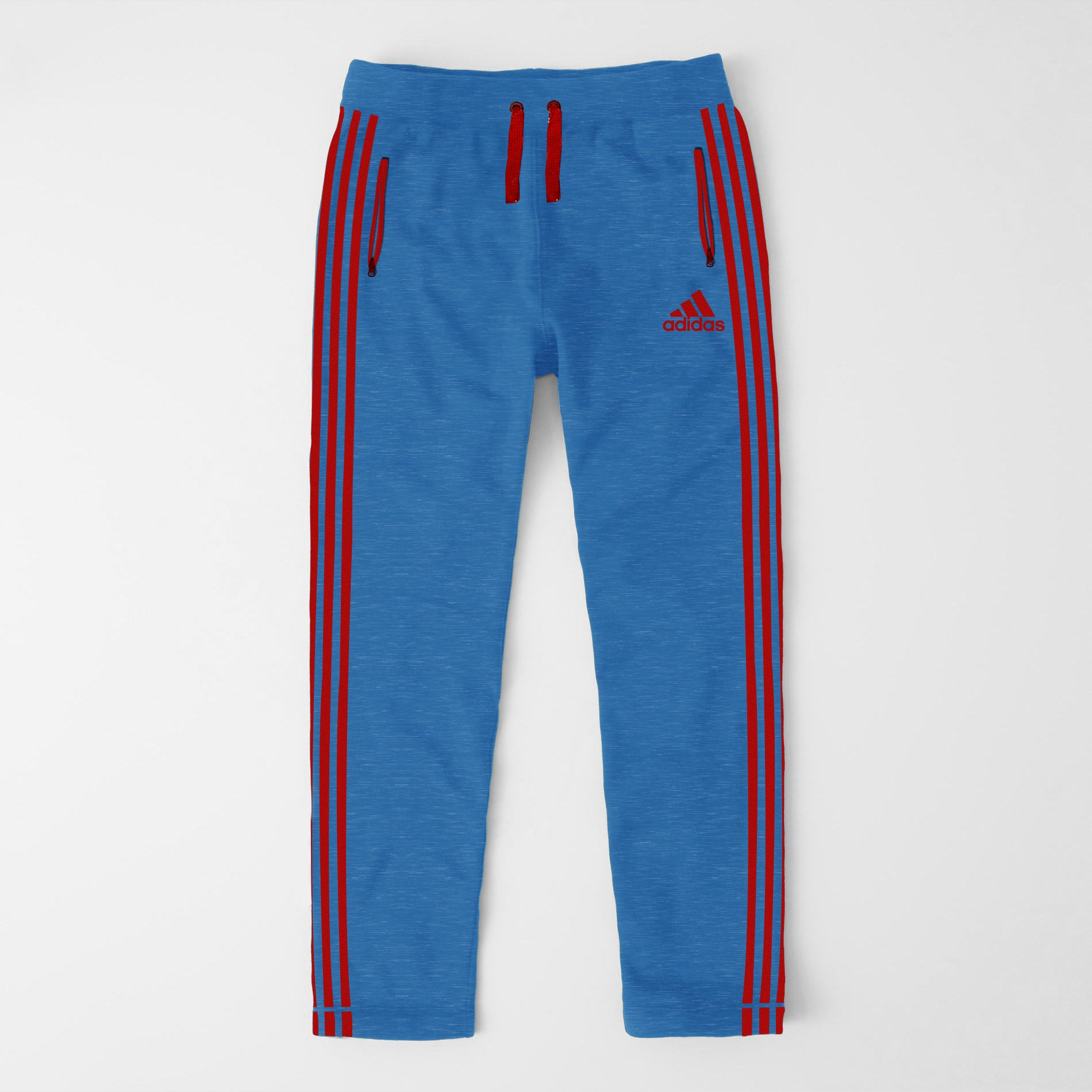 Adidas Single Jersey Regular Fit Trouser For Men-Dark Sky With Red Stripes-SP359