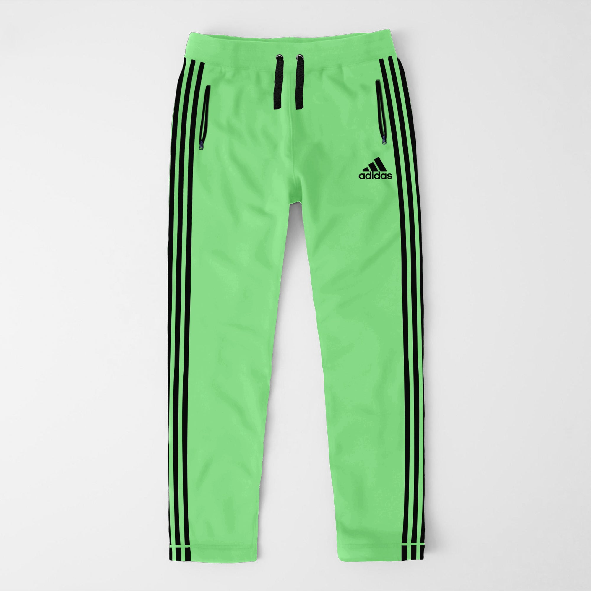 Adidas Single Jersey Regular Fit Trouser For Men-LIght Green With Black Stripes-SP381