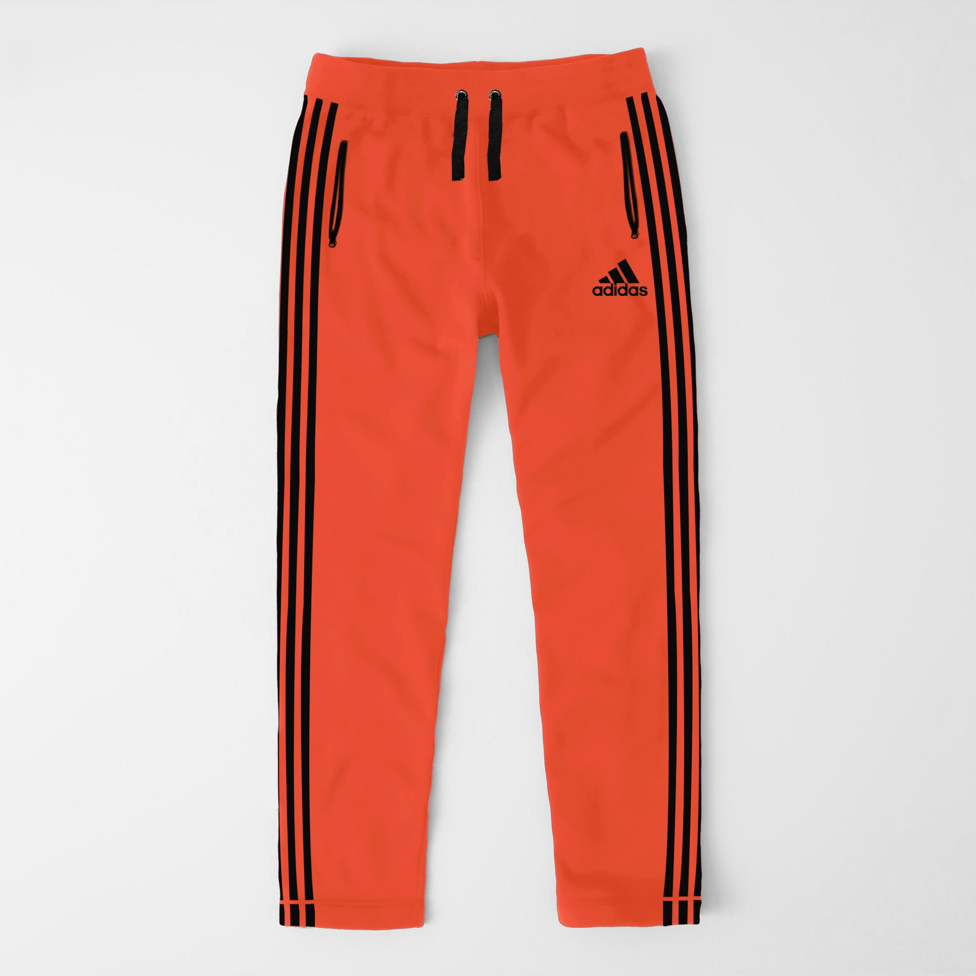 Adidas Single Jersey Regular Fit Trouser For Men-Orange With Light Black Stripes-SP387