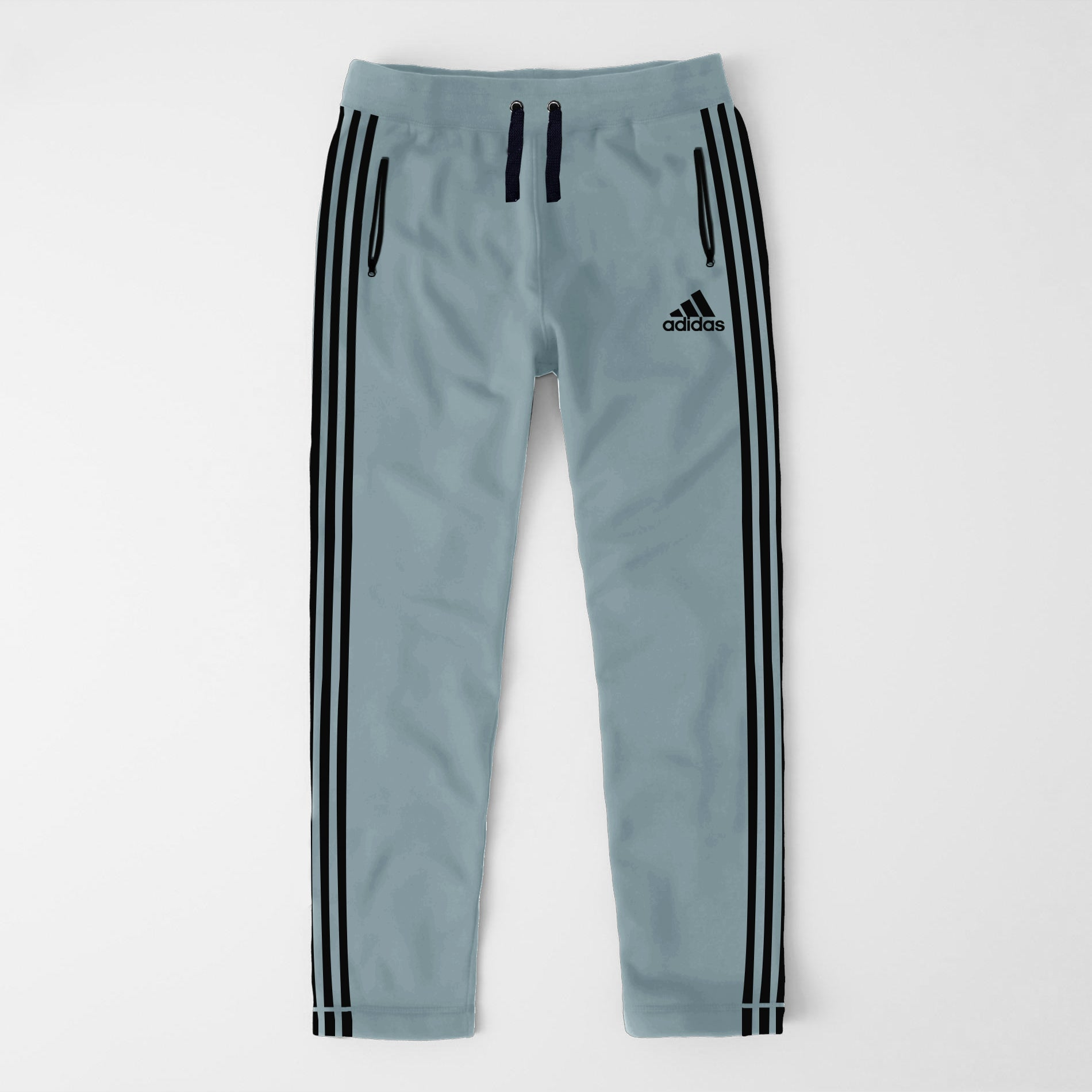 Adidas Single Jersey Regular Fit Trouser For Men-Slate Green With Black Stripes-SP377