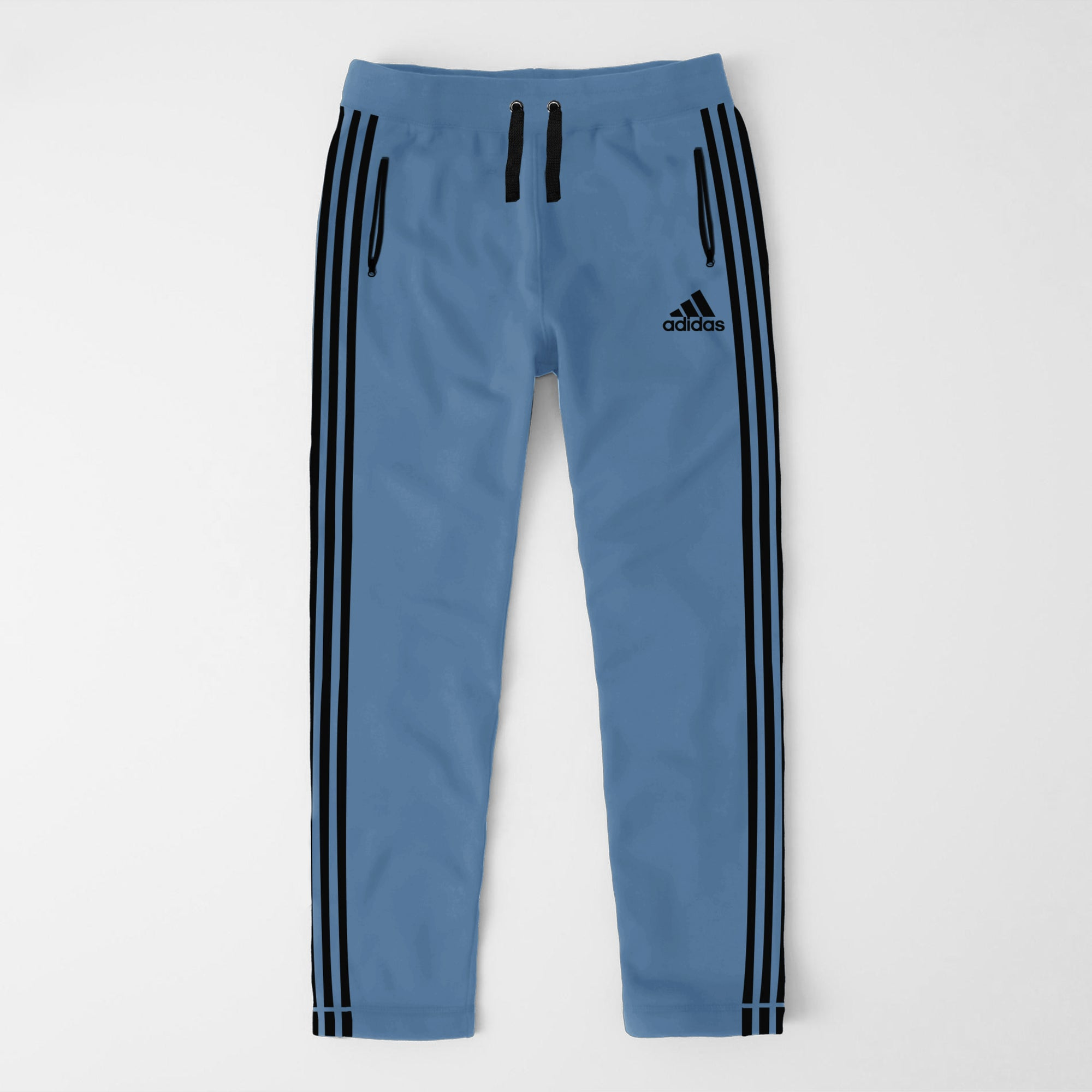 Adidas Single Jersey Regular Fit Trouser For Men-Dark Bord Blue With Black Stripes-SP457
