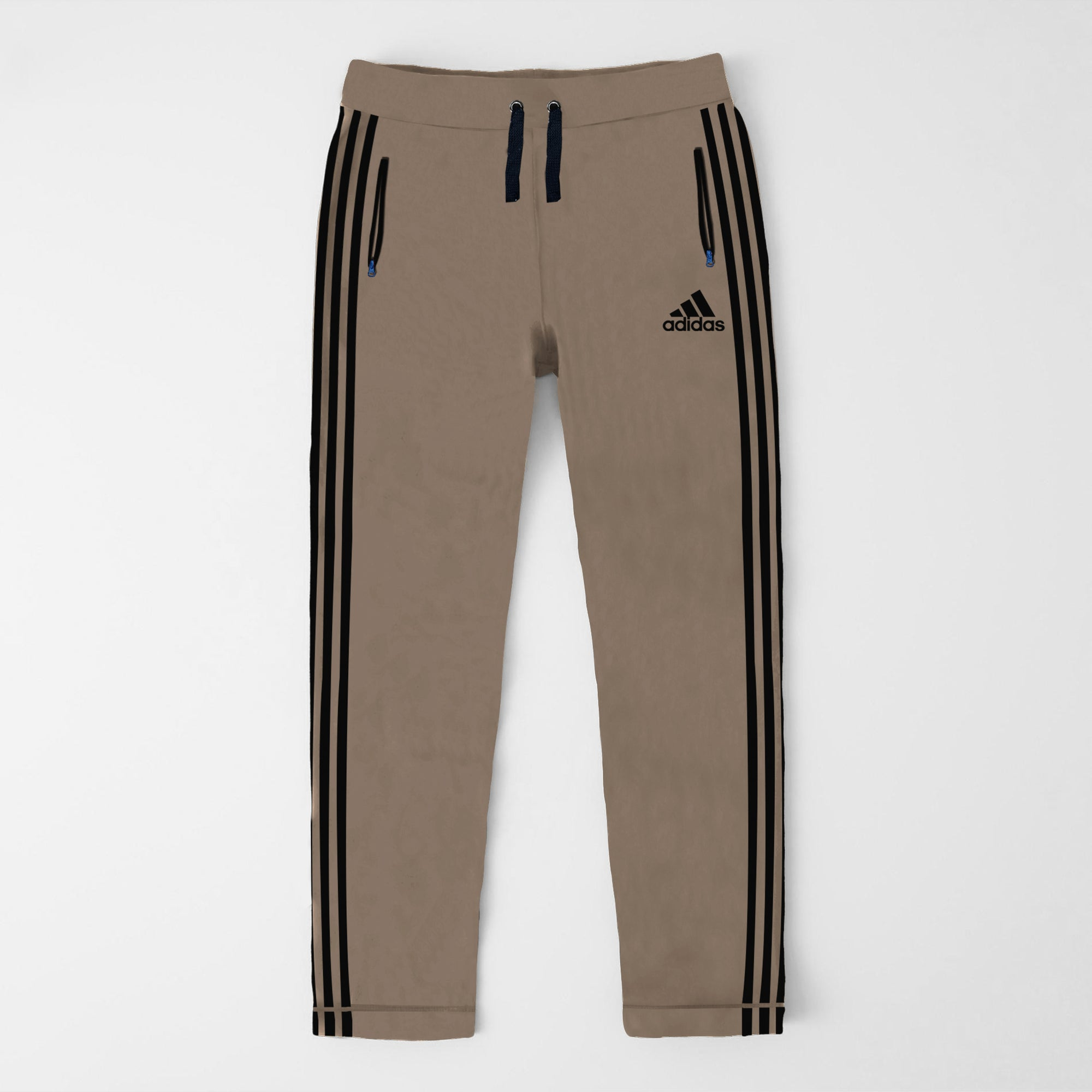 Adidas Single Jersey Regular Fit Trouser For Men-Brown With Black Stripes-SP462
