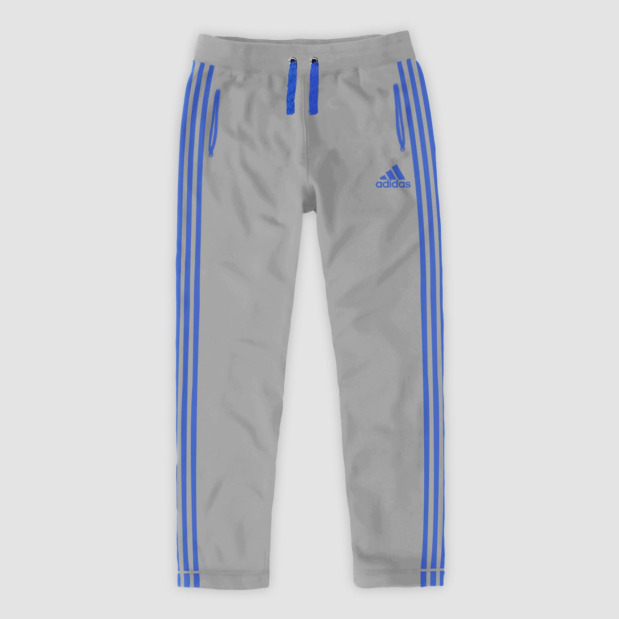 Adidas Single Jersey Regular Fit Trouser For Men-Slate Grey With Blue Stripes-SP459