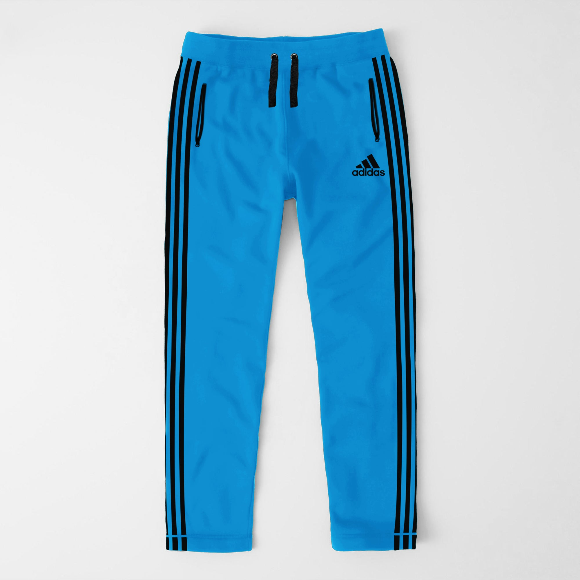 Adidas Single Jersey Regular Fit Trouser For Men-Blue With Black Stripes-SP455
