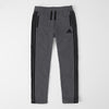 Adidas Single Jersey Regular Fit Trouser For Men-Charcoal Melange With Black Stripes-SP456