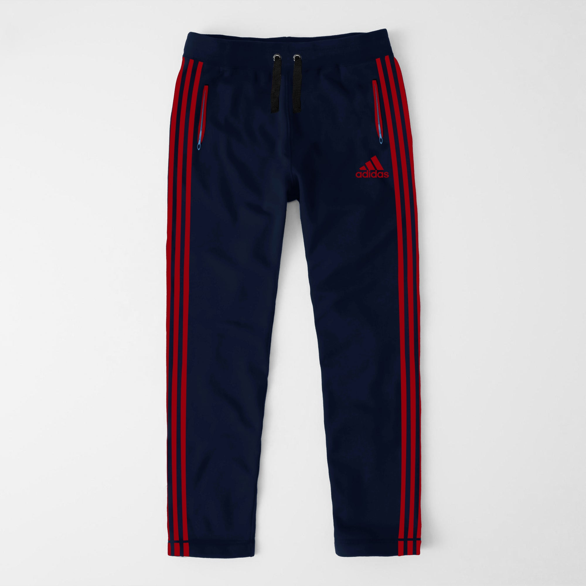 Adidas Single Jersey Regular Fit Trouser For Men-Dark Navy With Red Stripes-SP458