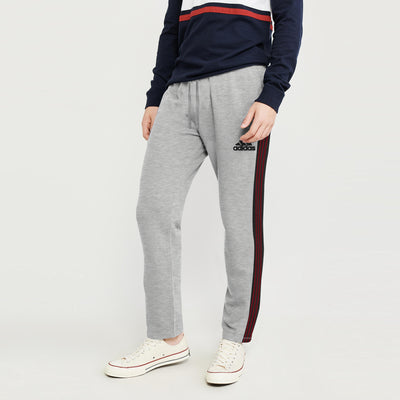 Adidas Single Jersey Regular Fit Jogger Trouser For Men-Grey Melange With Charcoal & Maroon Stripe-BE8789