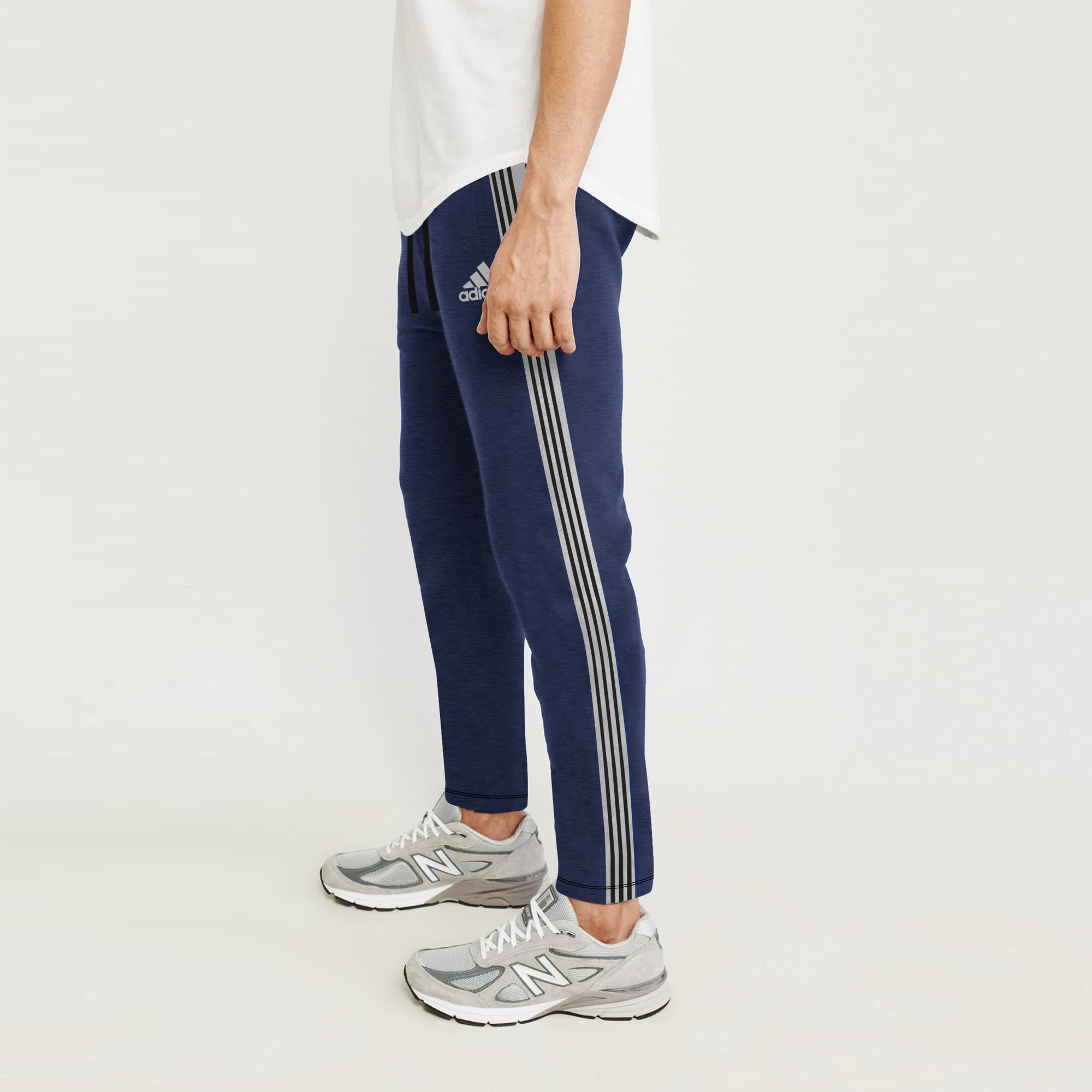 Adidas Single Jersey Regular Fit Jogger Trouser For Men-Navy Melange With Grey & Black Stripe-BE8790