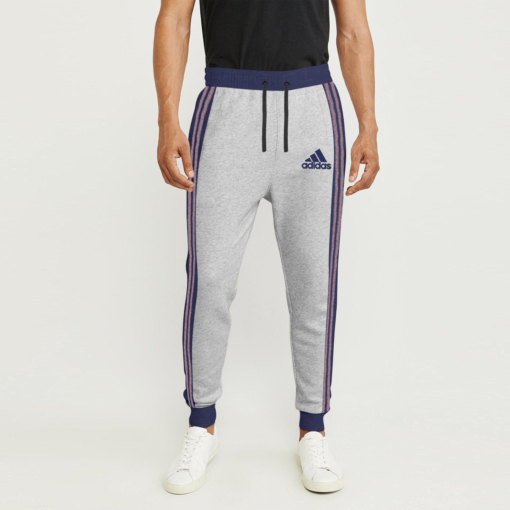 attractive price buying new new collection Adidas Single Jersey Slim Fit Jogger Trouser For Men-Grey Melange With Navy  Melange & Red Melange Stripe-SP292