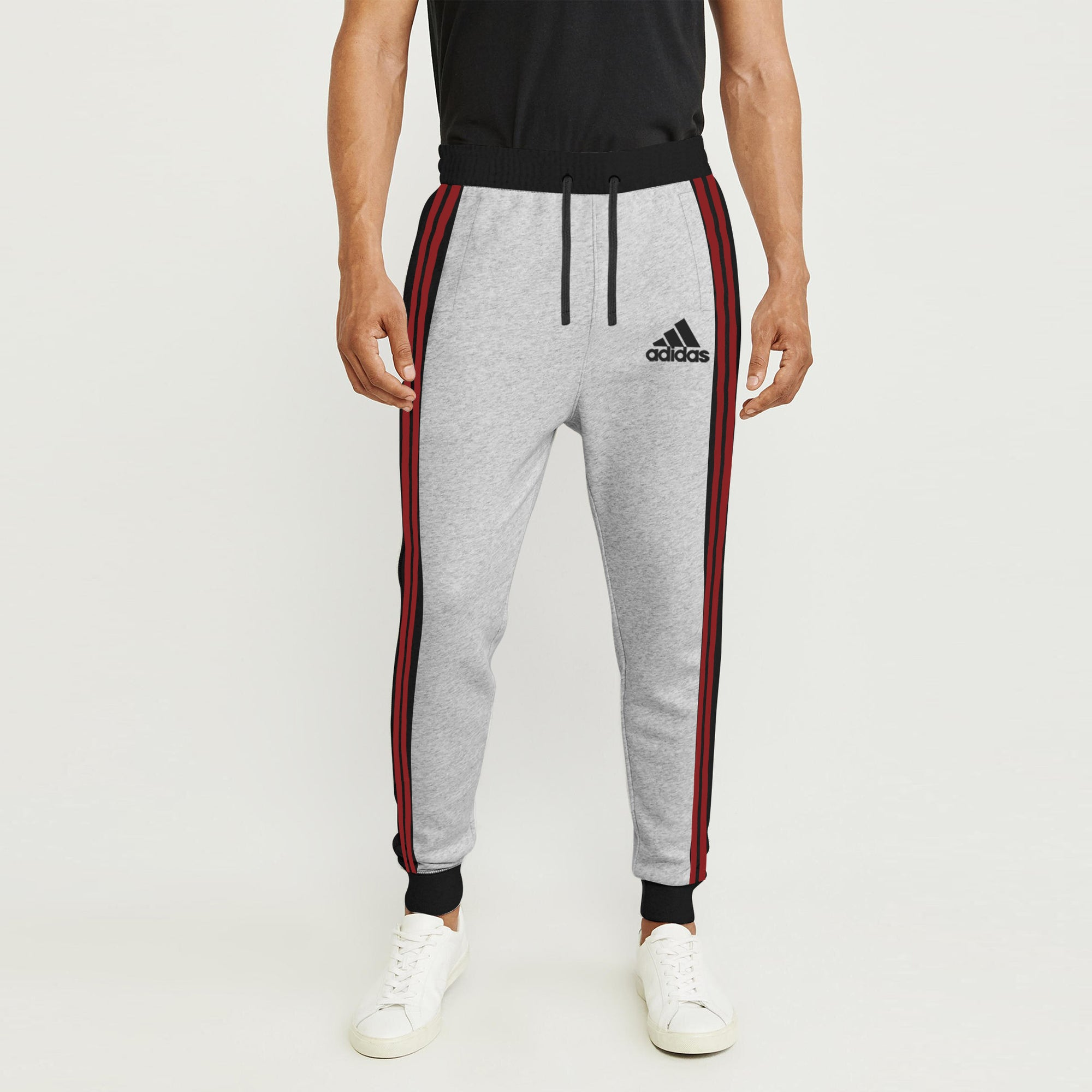 Adidas Single Jersey Slim Fit Jogger Trouser For Men-Grey With Charcoal & Red Stripe-BE8839