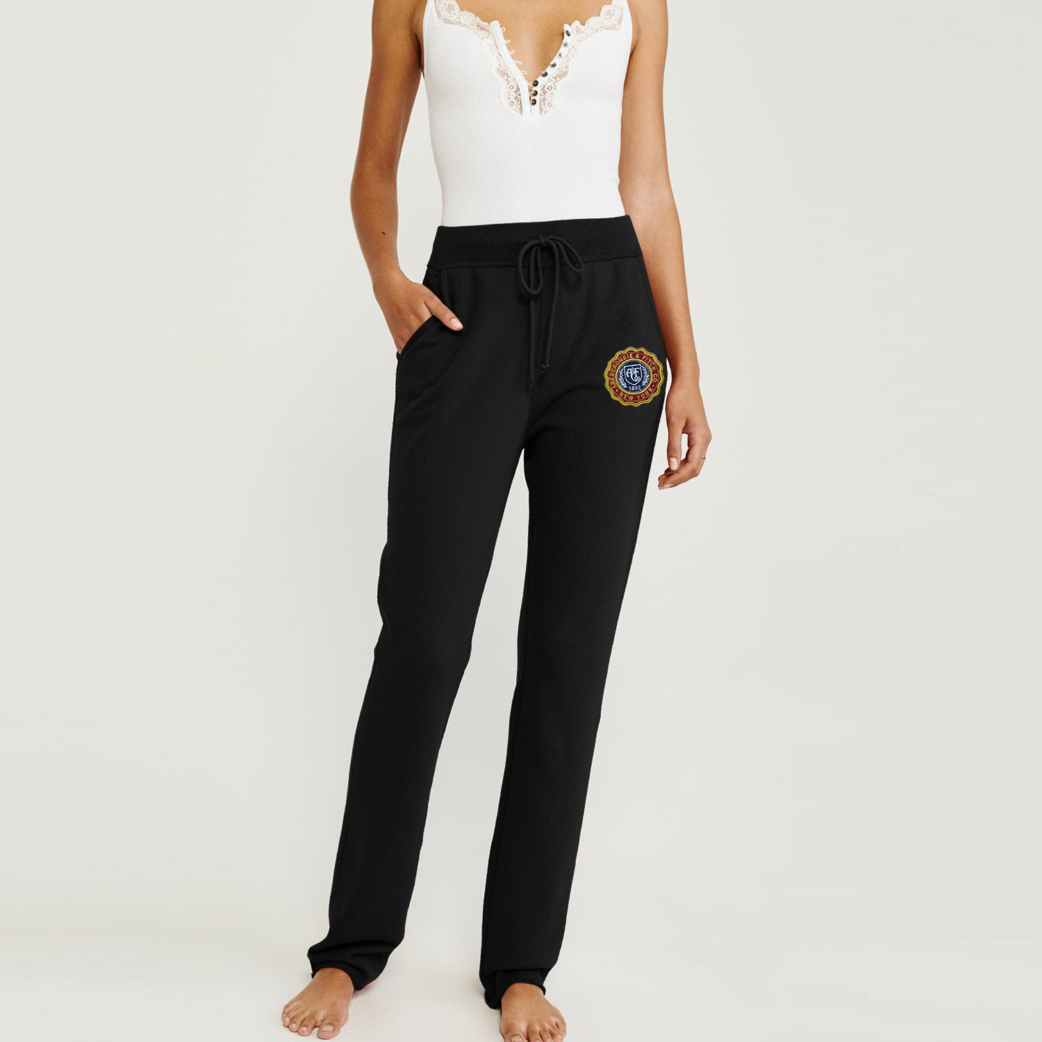 A&F Fleece Yellow Maroon & Navy Embroidery Straight Fit Jogger Trouser For Ladies-Black-BE9732