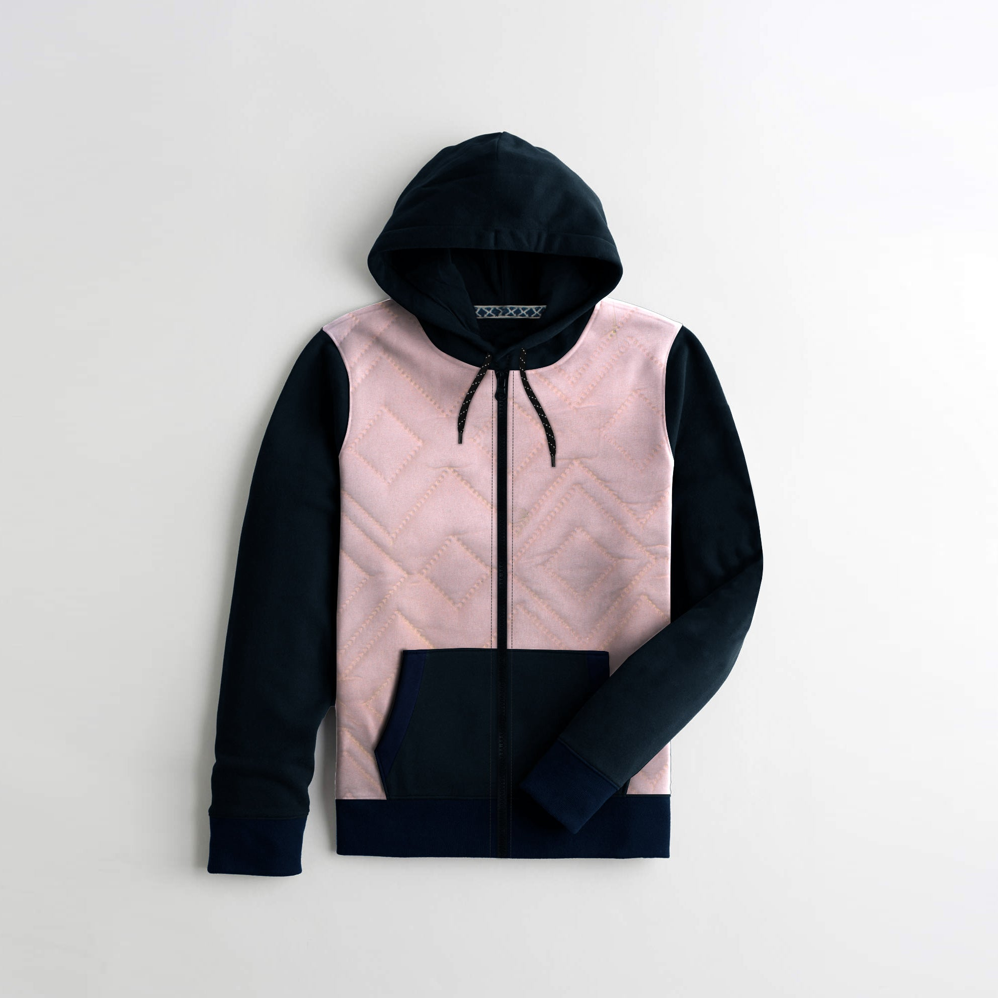 TH Quilted Zipper Hoodie For Kids-Baby Pink & Navy-NA12152