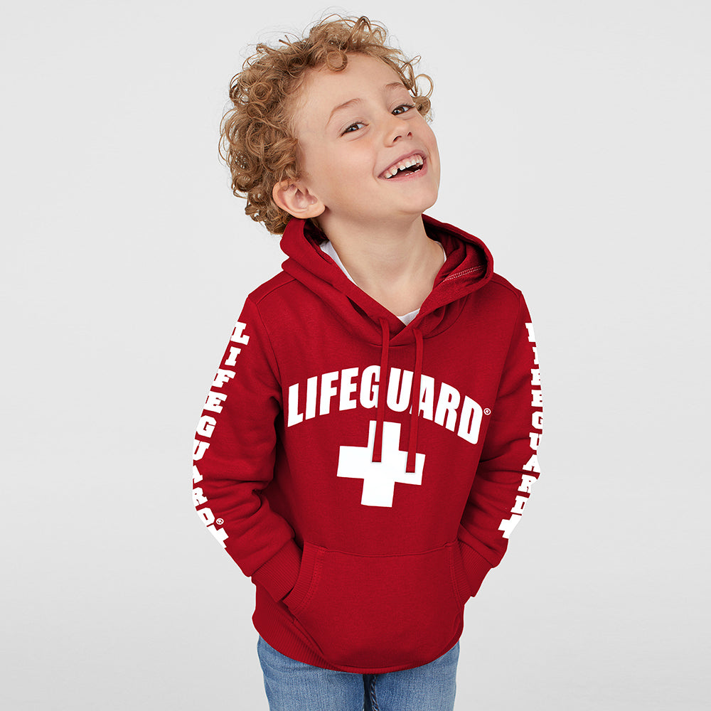 Life Guard Fleece Pullover Hoodie For Kids-Red-NA9789