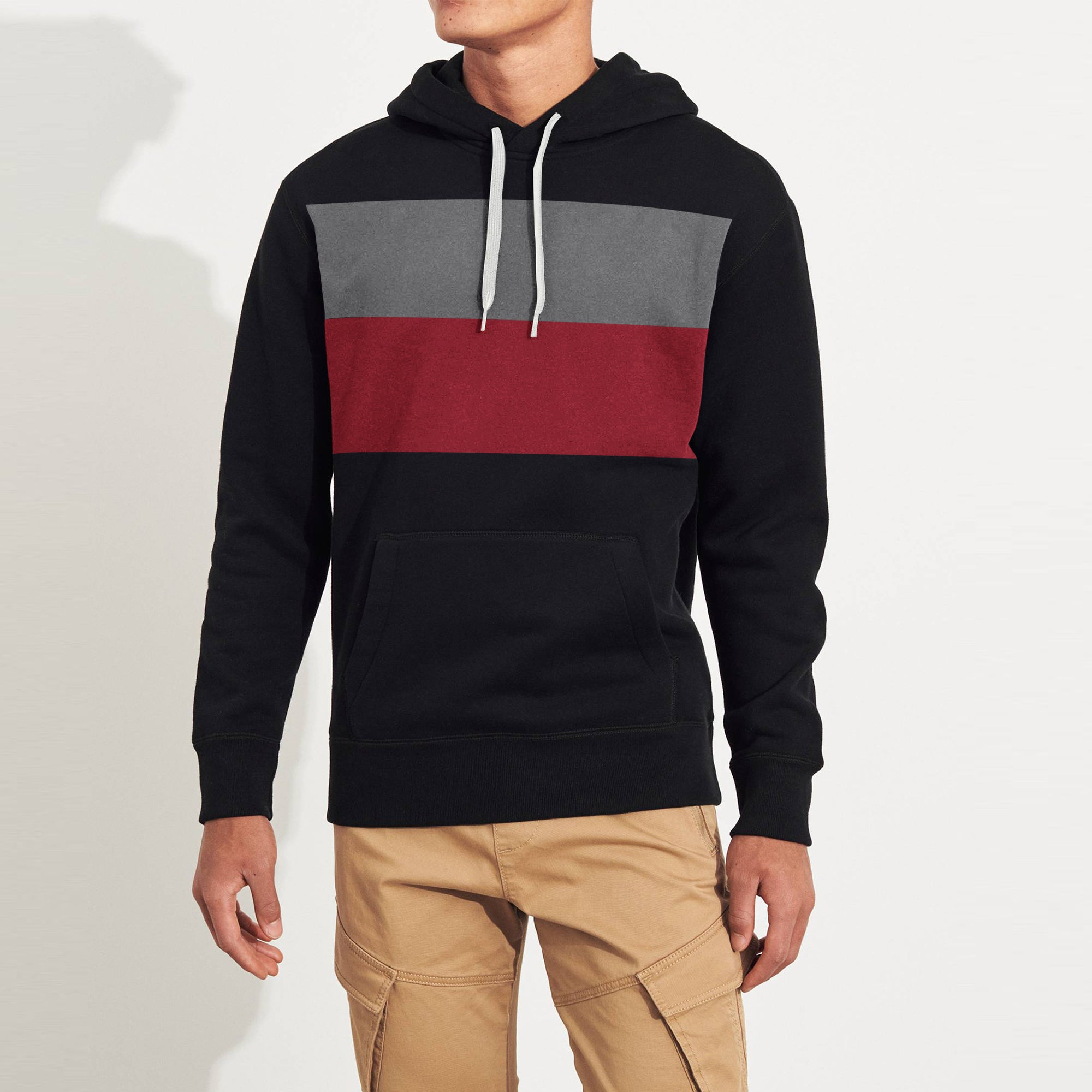 NK Fleece Pullover Hoodie For Men-Grey & Carrot Red Panels-SP1627