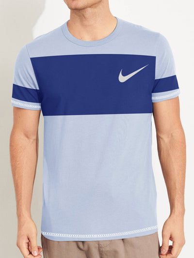 NK Summer Crew Neck Tee Shirt For Men-Light Purple with Royal Blue Panel-SP2785