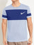 NK Crew Neck Tee Shirt For Men-Light Purple with Royal Blue Panel-SP2785