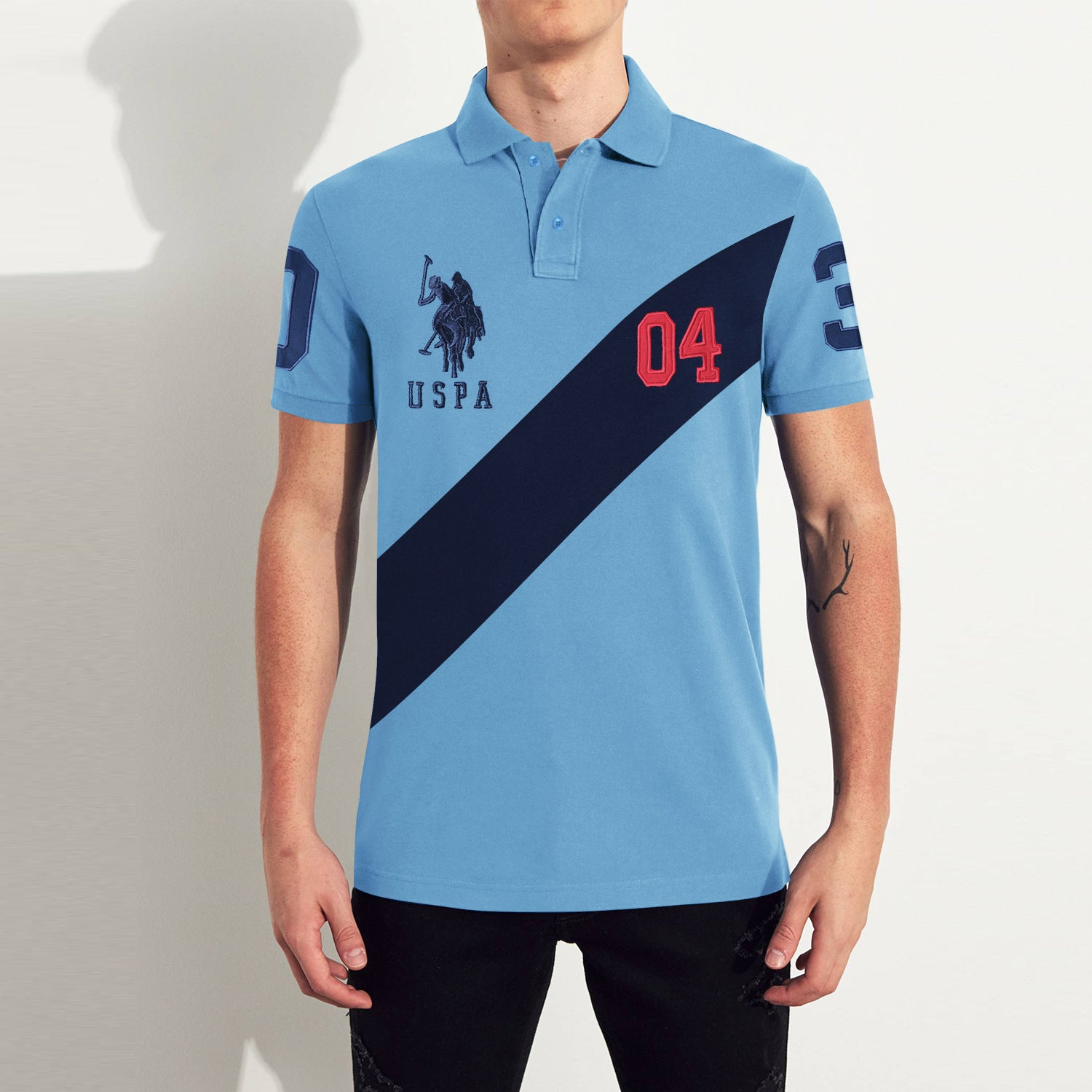 US Polo Muscle Fit Stylish Fashion Shirt For Men-Light Blue With Navy Panel-BE11872