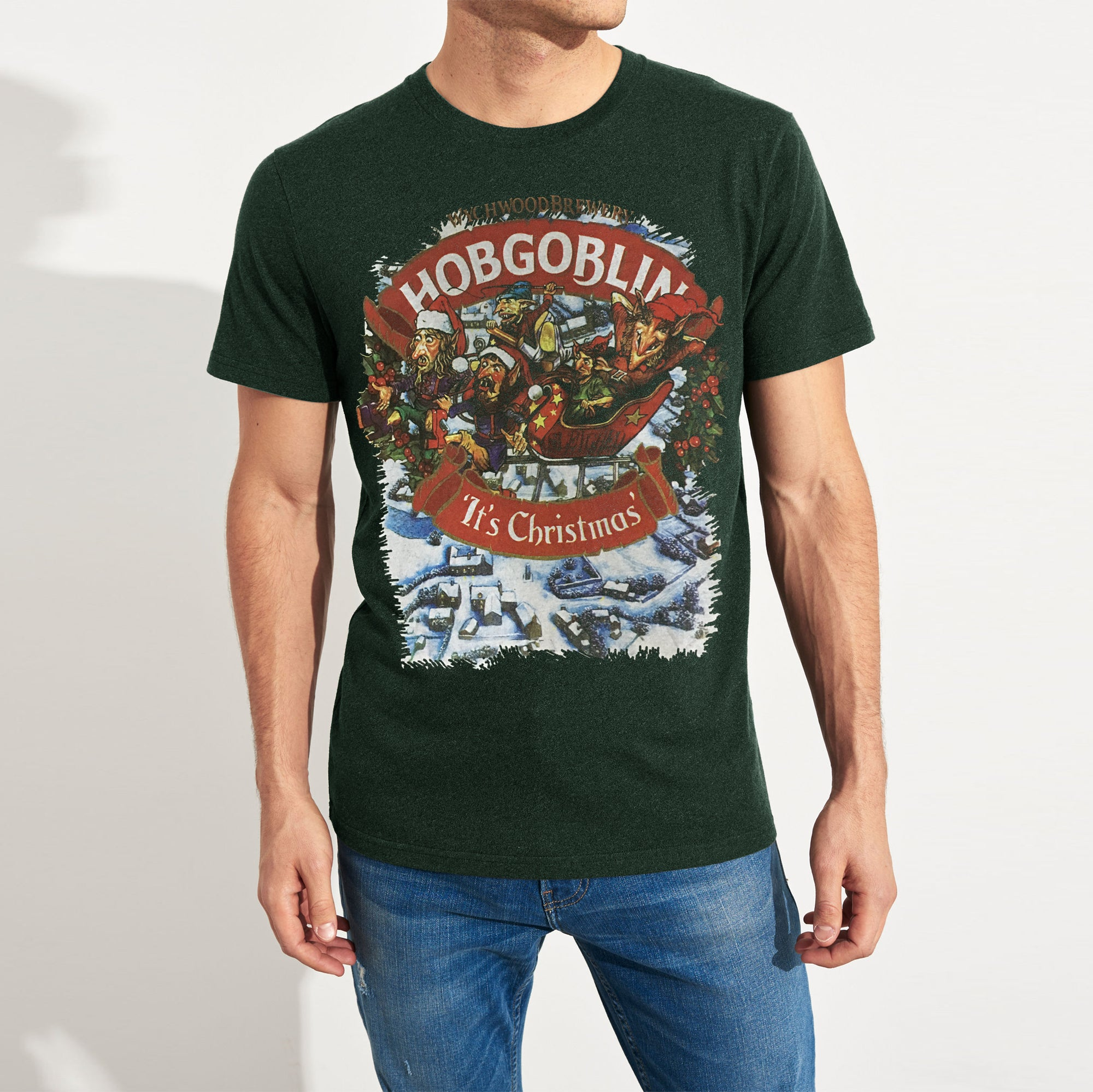 brandsego - Wychwood Crew Neck Single Jersey Tee Shirt For Men-Green Melange-NA8626