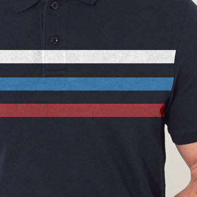brandsego - POLO Classic Short Sleeve P.Q Polo Shirt For Men-Navy with Stripe-BE8360