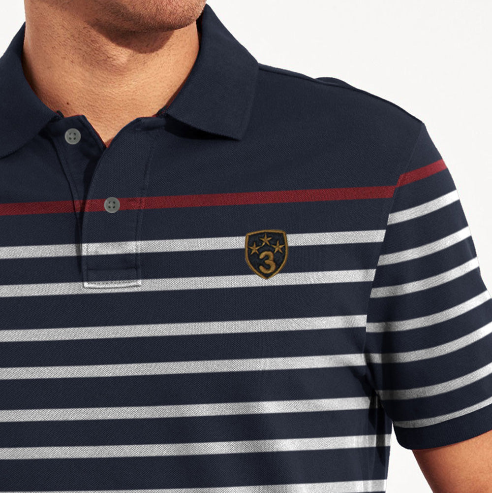 Banana Republic Short Sleeve P.Q Polo Shirt For Men-Dark Navy & White Stripe-BE8403