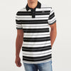 American Rag Short Sleeve Single Jersey Polo Shirt For Men-White & Black Stripe-BE8607