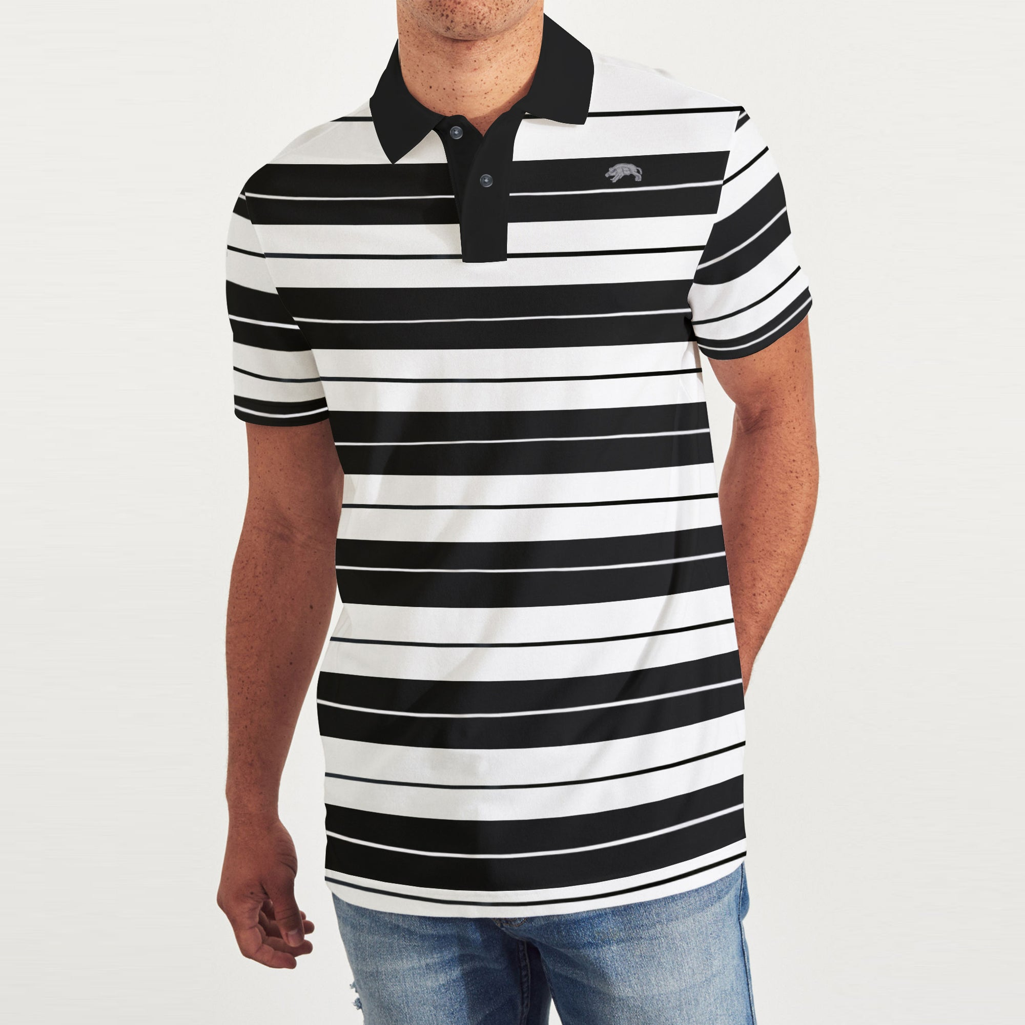 American Rag Short Sleeve Single Jersey Polo Shirt For Men White Black Stripe Be8607