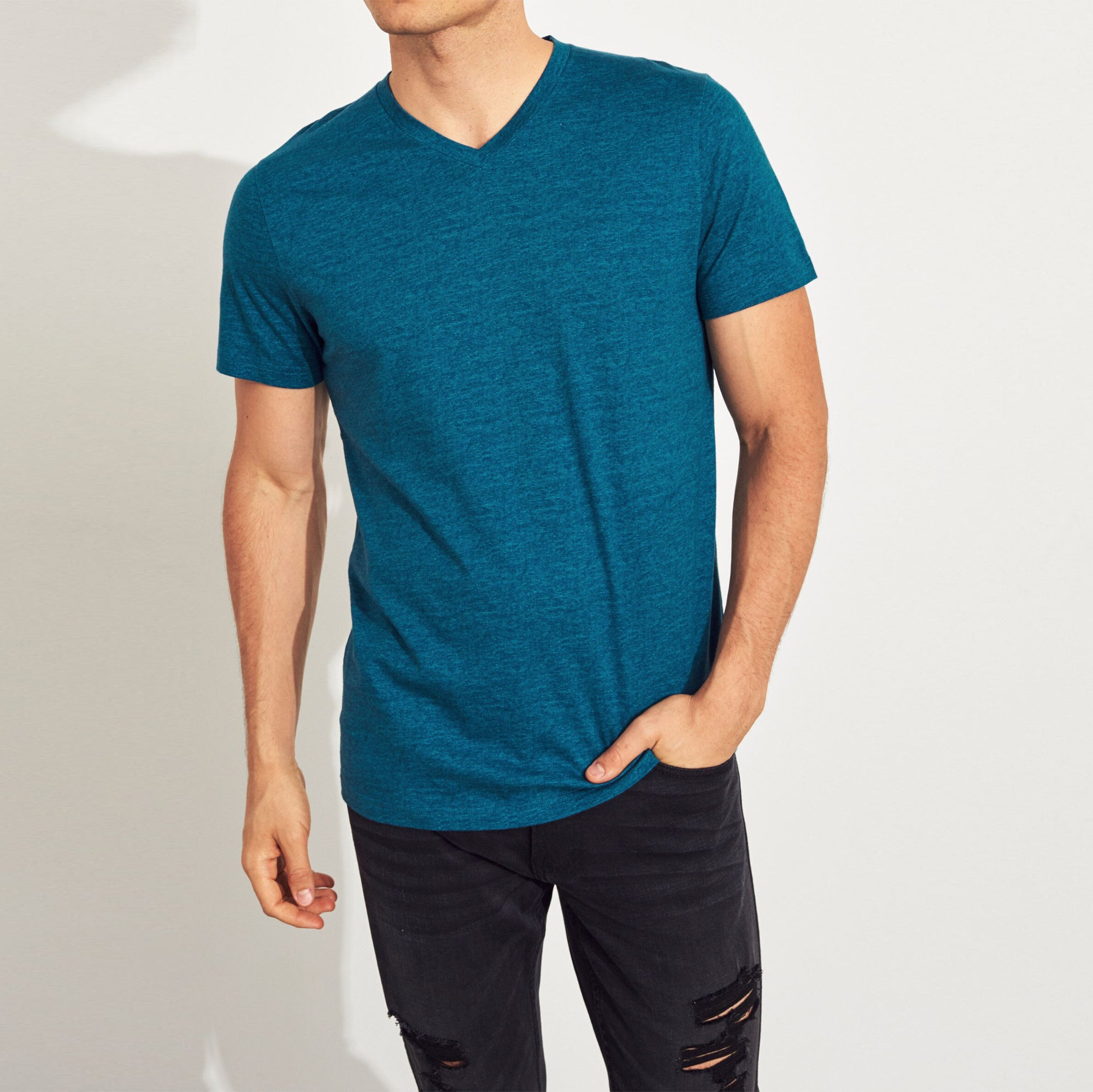 Beverly Hills V Neck Half Sleeve Tee Shirt For Men-NA9029