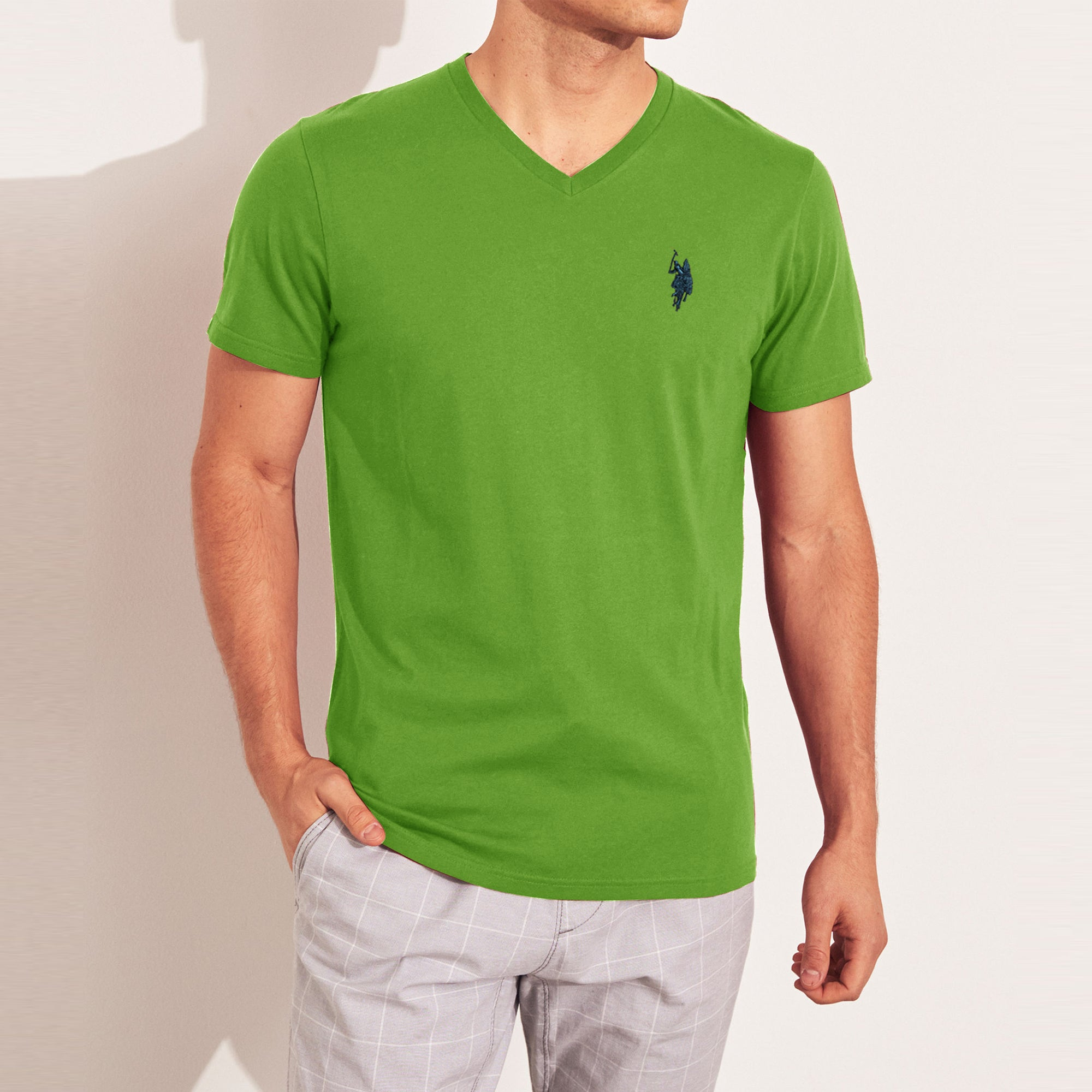 U.S POLO Single Jersey V Neck Tee Shirt For Men-SP603
