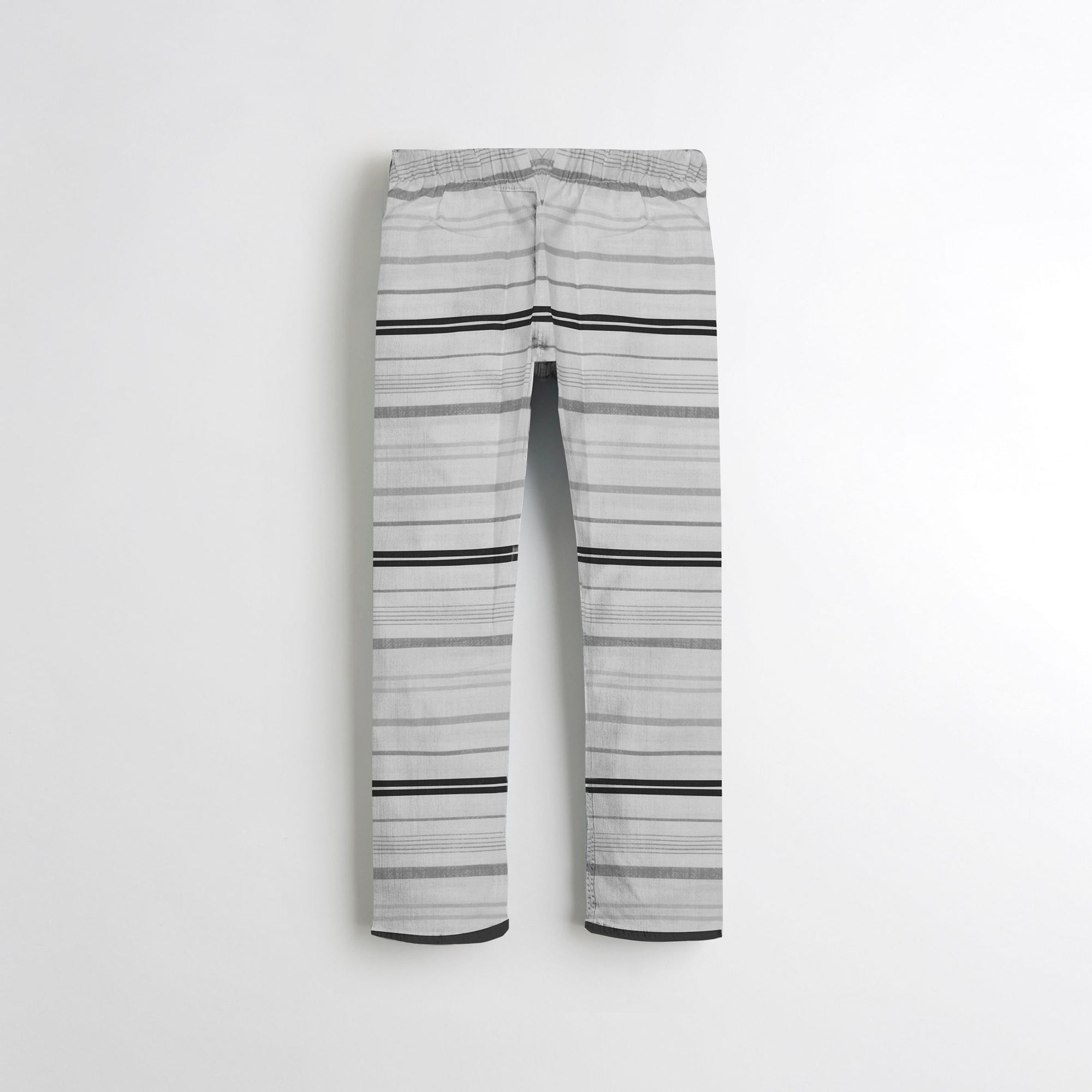 Next Straight Fit Cotton Trouser For Kids-White With Black Lining -SP088