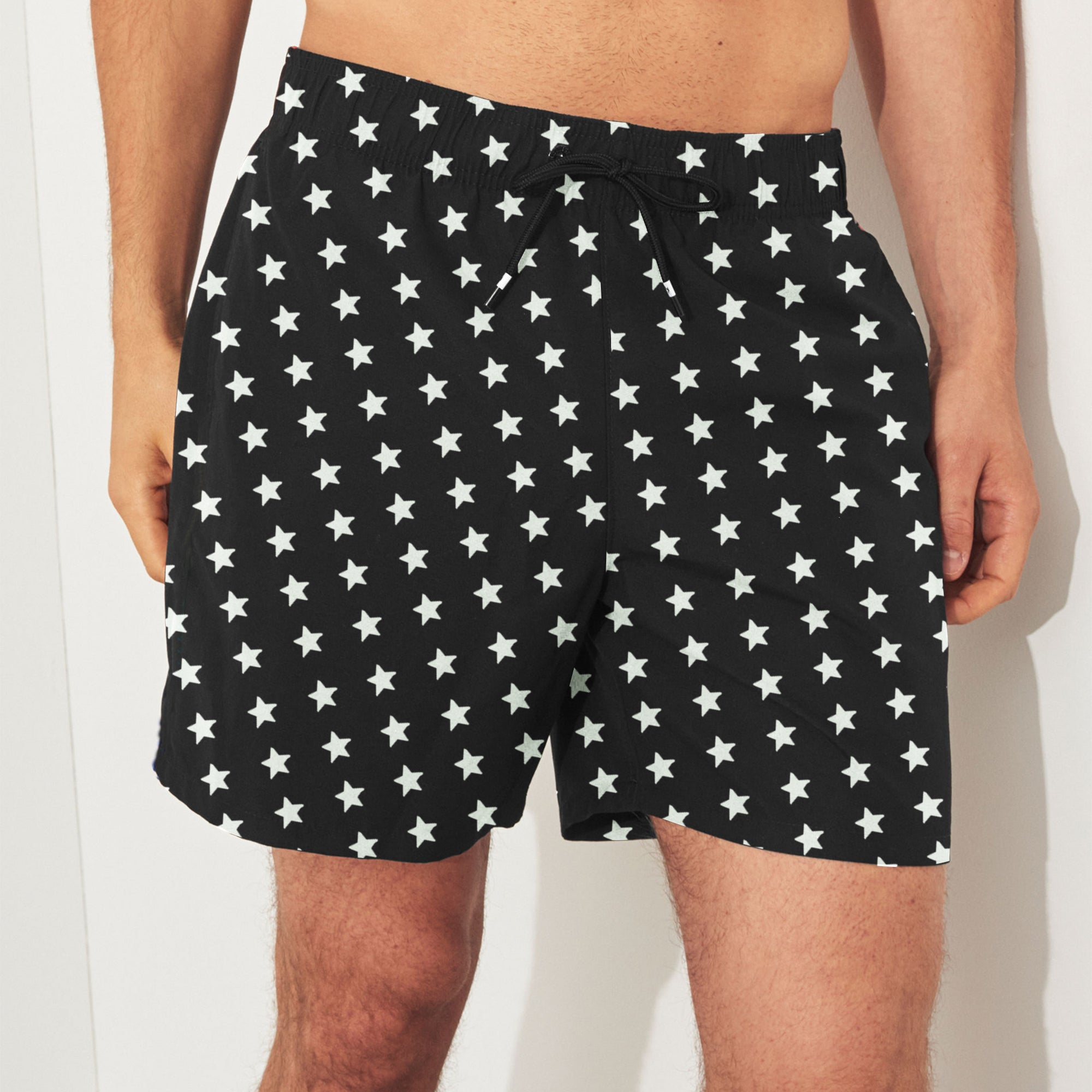 Unit Terry Fleece Short For Boys-Black With Stars-SP085