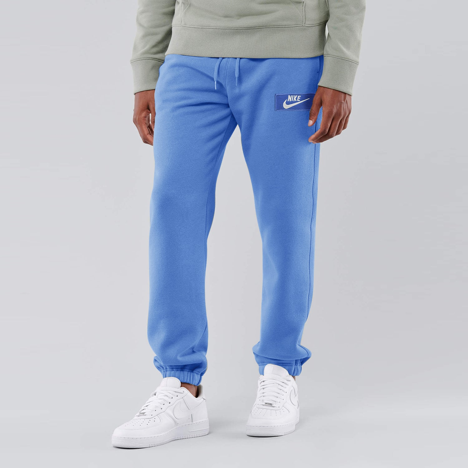 NK Terry Fleece Gathering Fit Pant Style Jogging Trouser For Men-Blue with White Embroidery-BE12953