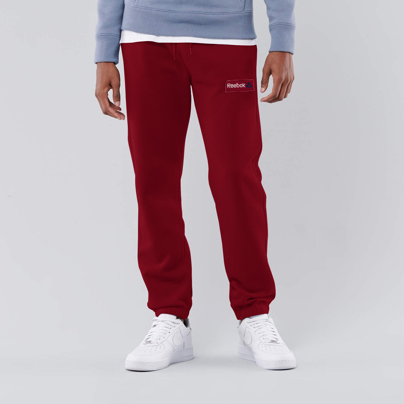 Reebok Heavy Fleece Regular Fit Gathering Bottom Trouser For Men-Rose Red With White Embroidery-NA12570
