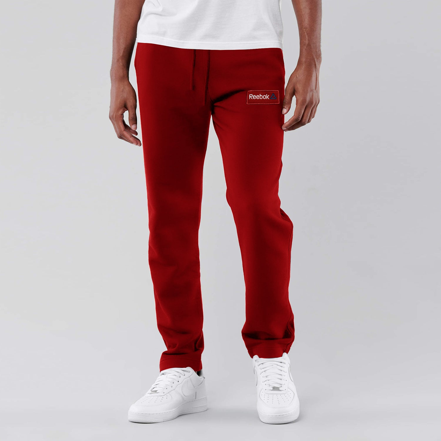 Reebok Heavy Fleece Regular Fit Trouser For Men-Red With White Embroidery-NA12567