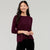 Popular Crew Neck Viscous Tee Shirt For Girls-Dark Maroon-NA11002
