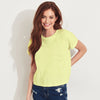 brandsego - Bowie Half Sleeve Stylish Burnout Tee Shirt For Women-Yellow-BE8868