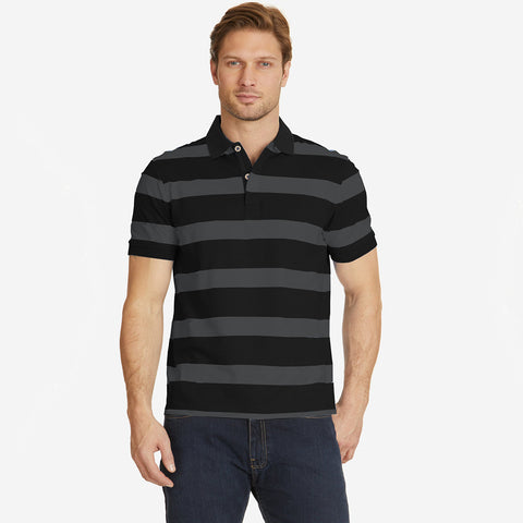 Fat Face Polo For Men Cut Label-Black & Dark Gray Striped-BE2314