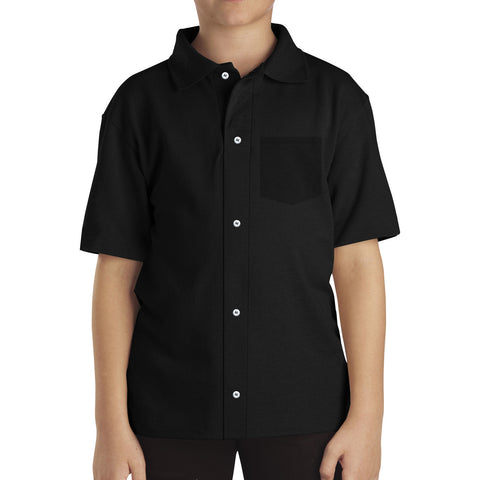 "Kids ""FIF"" Polo Shirt-Black-BE205"