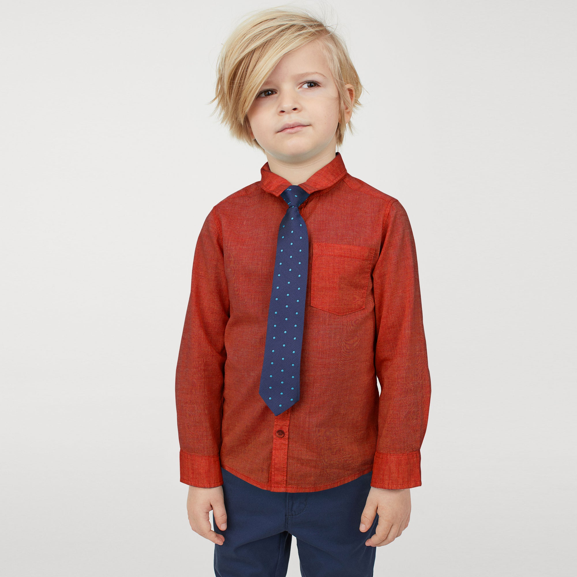 Karat Button Down Casual Shirt For Boys-Dark Orange Melange-NA8628