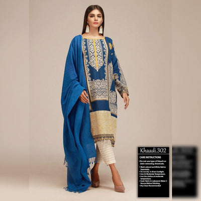 Khaadi Summer Collection Lawn 3 Piece Un-stitch Suit For Ladies-NA8464