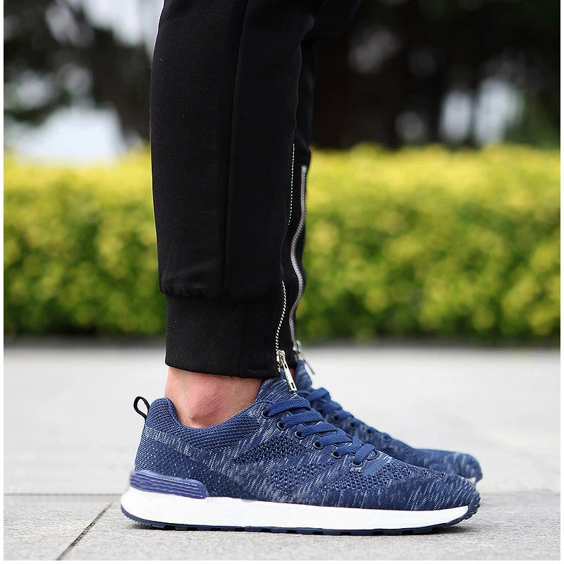 Knit Style Footwear Sports Running Shoes for Men-Navy Blue-NA10961