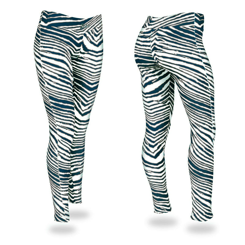 Zubaz Zebra Print Slim Fit Trousers For Ladies-Grey White & Cyan Blue-NA9256
