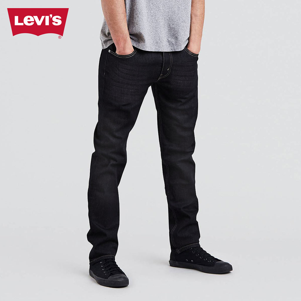 LEVI'S Slim Fit Light Faded Stretch Denim For Men-Dark Black-Levis 11
